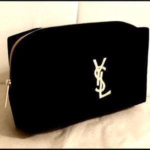 YVES SAINT LAURENT black velvet makeup bag 💄